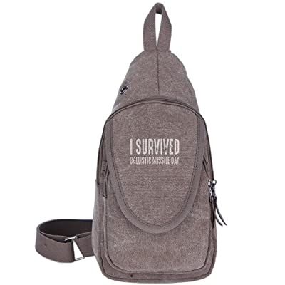 d848a0dde012 I Survived Ballistic Missile Day Fashion Men s Bosom Bag Cross Body New  Style Men Canvas Chest