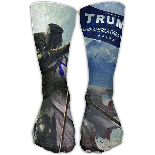 7942c52e166 Amazon.com  Crusader Long Sword Warrior Hold Trump Slogan Flag Mens Socks  Womens Socks 30cm  Clothing