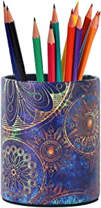 LIZIMANDU PU Leather Pencil Pen Holder,Round Pencil Cup Stationery Desk Organizer Control Storage Box for Home Office Bedroom(1 Pack,1-Blue Flower)
