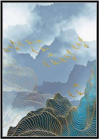 Zlhcich Géométrique Abstrait Décoration Artistique Peinture