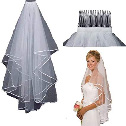 3b73e00b1db Amazon.com  ZXCVBNM Tulle White Ivory Two Layers Bridal Veils Ribbon Bride  Accessories 75cm Short Women Veil With Comb UY001 (Lvory White)  Toys    Games