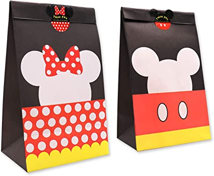 Goodie Candy Treat Bags Birthday Mickey Minnie Inspired Party Favor Supplies Set of 24,with Thank You Stickers