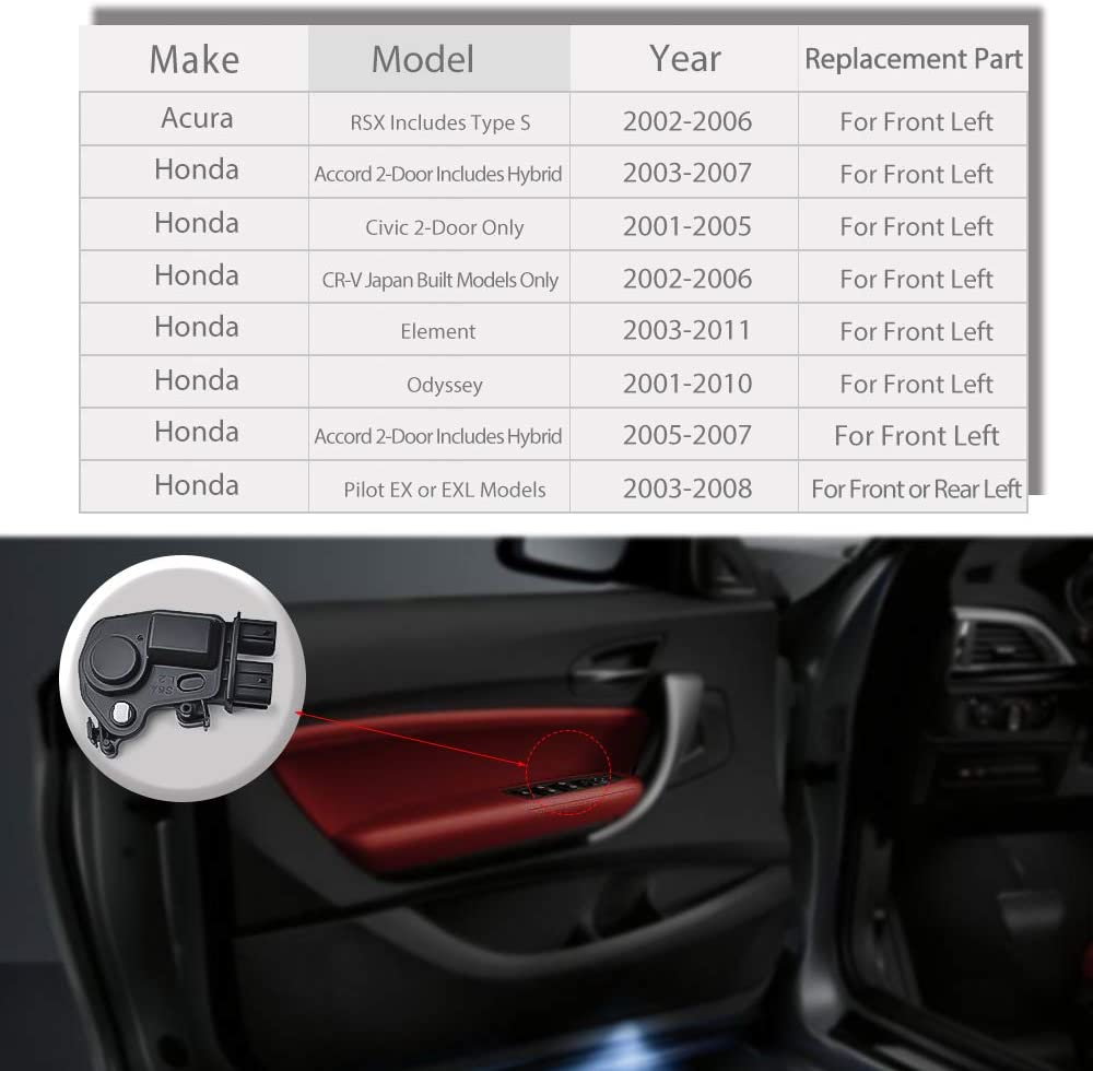 Replace OEM: 72155S5PA11 Honda Accord Civic Odyssey Pilot for Acura RSX Driver Side Door Latch OTUAYAUTO Door Lock Actuator Front Left