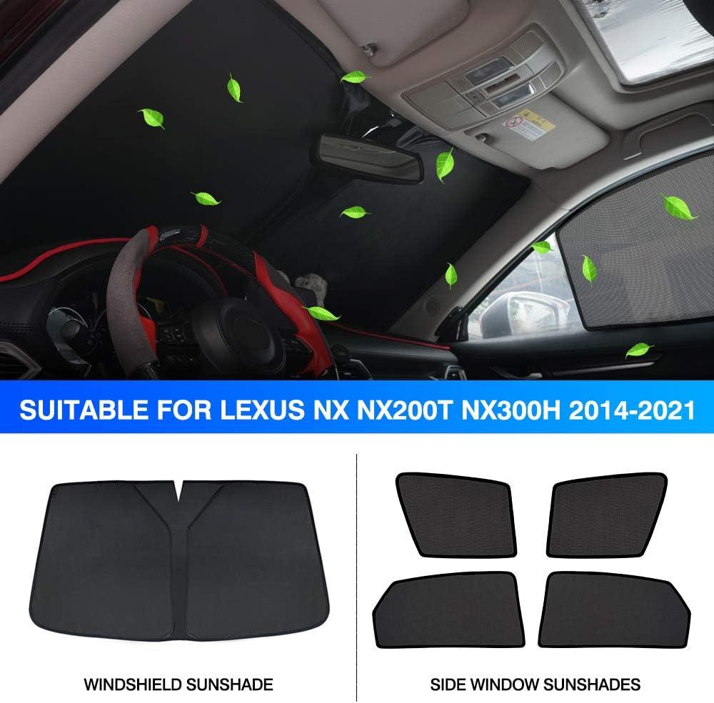 KUST Side Window Sun Shades/&Windshield Sunshade for 2020 Lexus NX Nx200t Nx300h SUV 2014-2021 UV Rays Blocks Sun Visor Protector Foldable Sun Shield