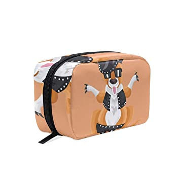 200669e5d2 Amazon.com   Funky Cosmetic Bag Kangaroo In Studded Outfit On Peach  Background Girls Makeup Organizer Box Lazy Toiletry Case   Beauty