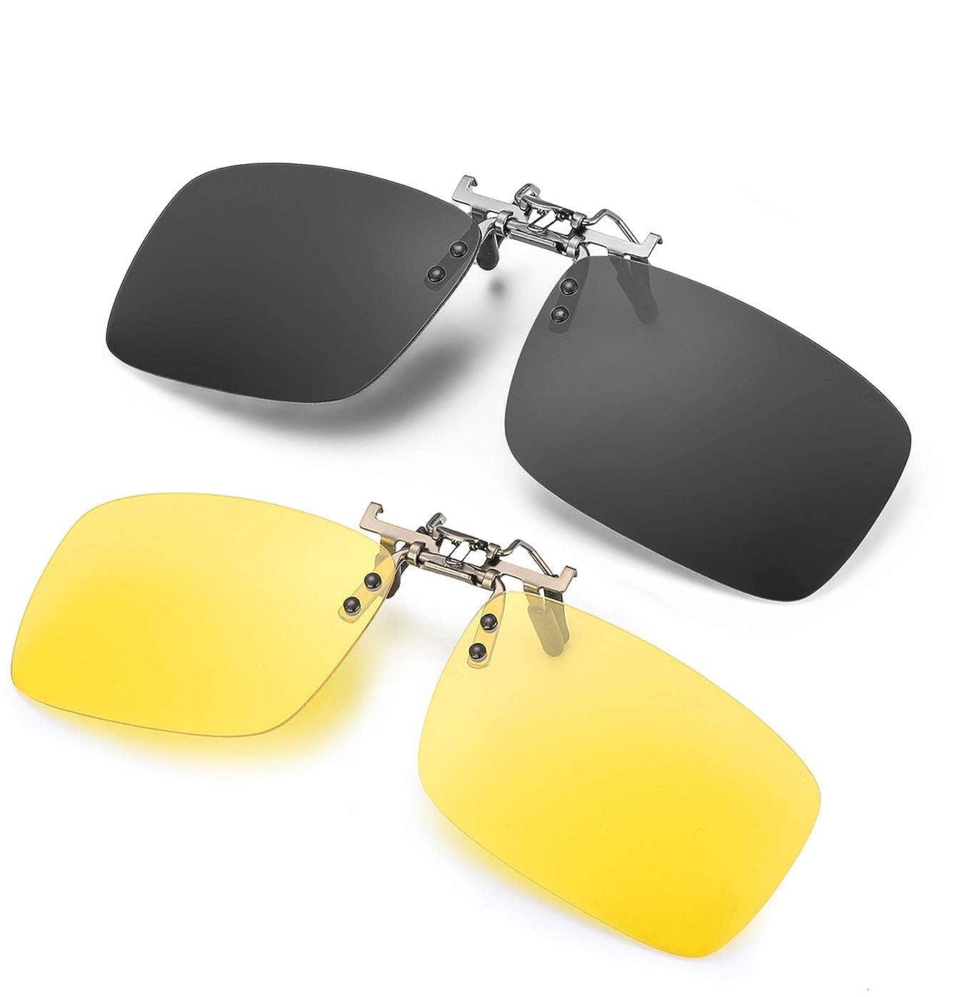 Day+Night Unisex Polarized Clip on Sunglasses for Prescription Glasses 2 PACK Flip Up Rimless Anti Glare Night Vision Lens for Driving Fishing 100/% UVA//UVB Protection
