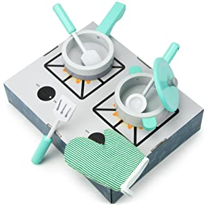 Simmer & Serve Cookware Playset with a Pot, Pan, Mitt, & Utensils – Compatible with Kids Kitchens & Play Food Toy Sets (7pcs.) by Imagination Generation