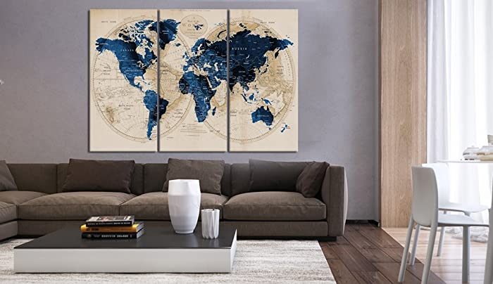 Amazon multi panel set of 3 pieces push pin world map canvas multi panel set of 3 pieces push pin world map canvas print navy blue old gumiabroncs Choice Image
