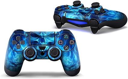 Morbuy PS4 Controller Skin Diseñador Piel Pegatina para Sony Playstation 4 PS4 Slim PS4 Pro DualShock Mando inalámbrico x 1 (Skull Fire Blue): Amazon.es: Electrónica