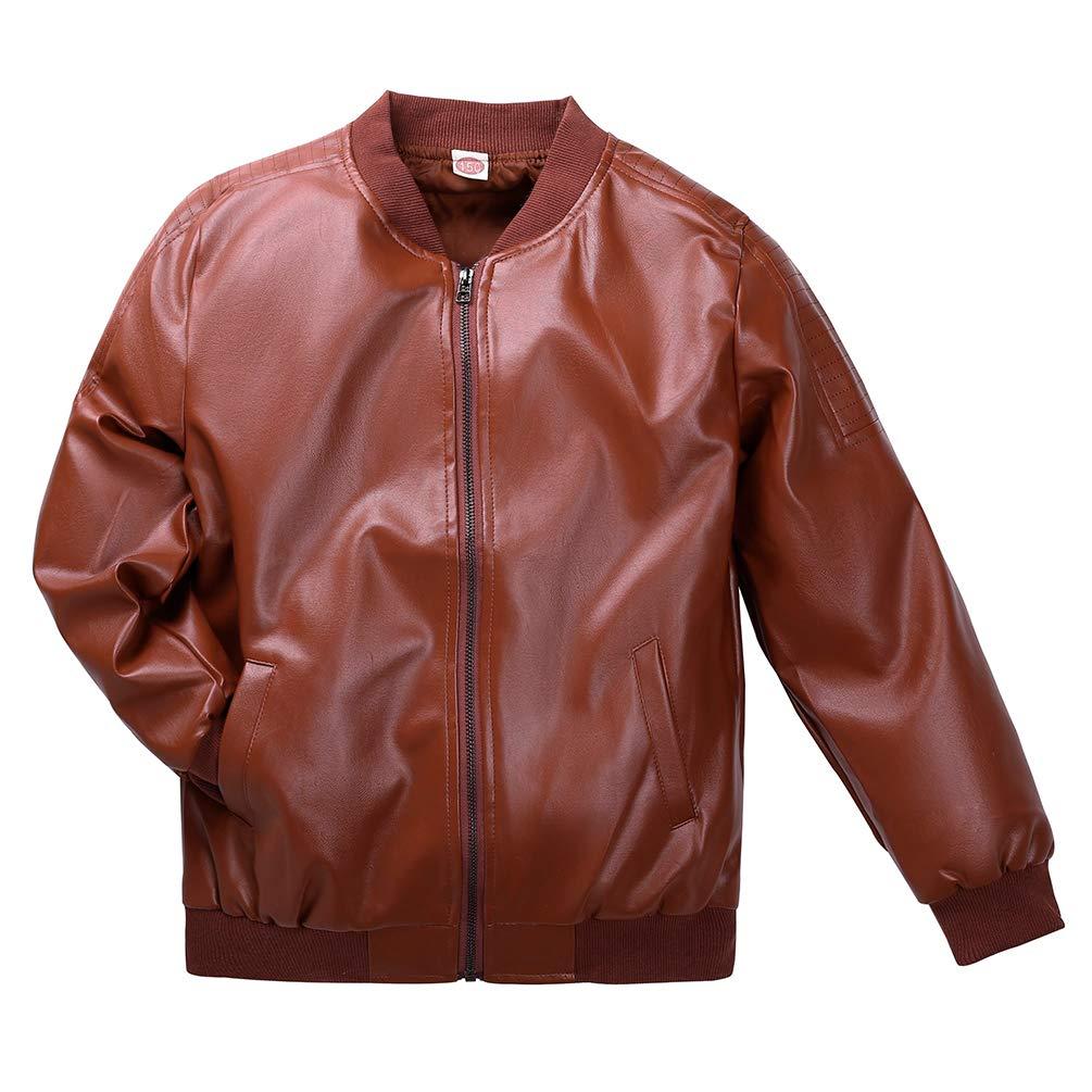 Lau's Boys Leather Bomber Jacket Faux Leather Biker Coats Outerwear Jackets Lau' s