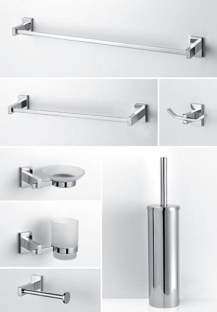 Accessori per bagno moderno in ottone cromato vetro satinato ...