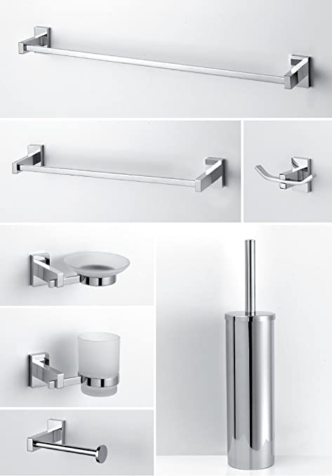 accessori per bagno moderno in ottone cromato vetro satinato ... - Accessori Per Bagni Moderni