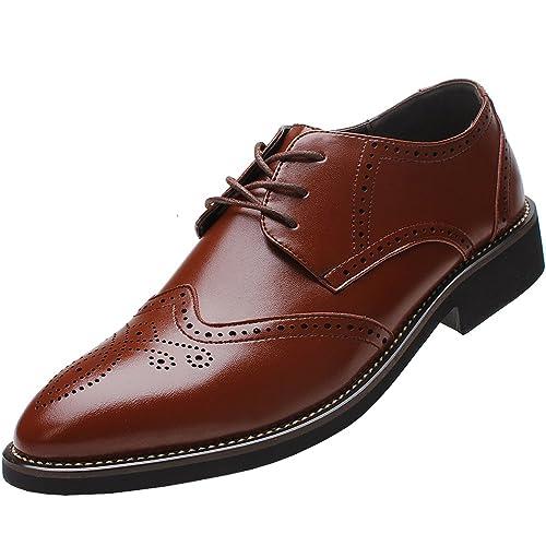 Rismart Hombre Negocio Vestir Espacio de trabajo Cuero Partido Oxfords Zapatos