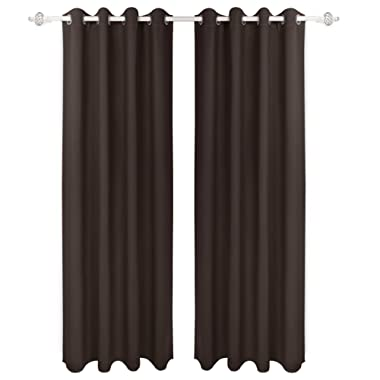 HOMEIDEAS Blackout Curtains Room Darkening Thermal Insulated Grommet Drapes for Bedroom (52 x 95 Inches, Chocolate, 2 Panels)