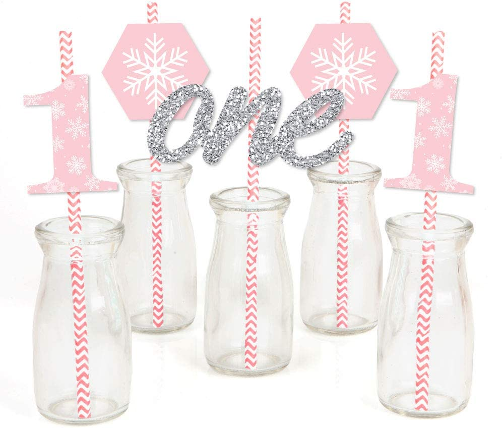 Big Dot of Happiness Pink Onederland - Paper Straw Decor - Holiday Snowflake Winter Wonderland Birthday Party Striped Decorative Straws - Set of 24