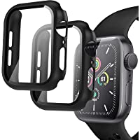 Compatible Apple Watch 44mm Case, 2 Pack Hard PC Case with Tempered Glass Screen Protector for Apple Watch Series 6 SE…
