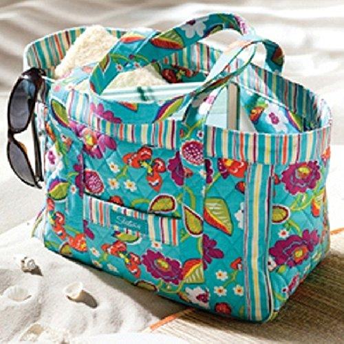 Longaberger Sisters Summer Lovin Tote Beach Bag Teal Stripe Purse New In Bag