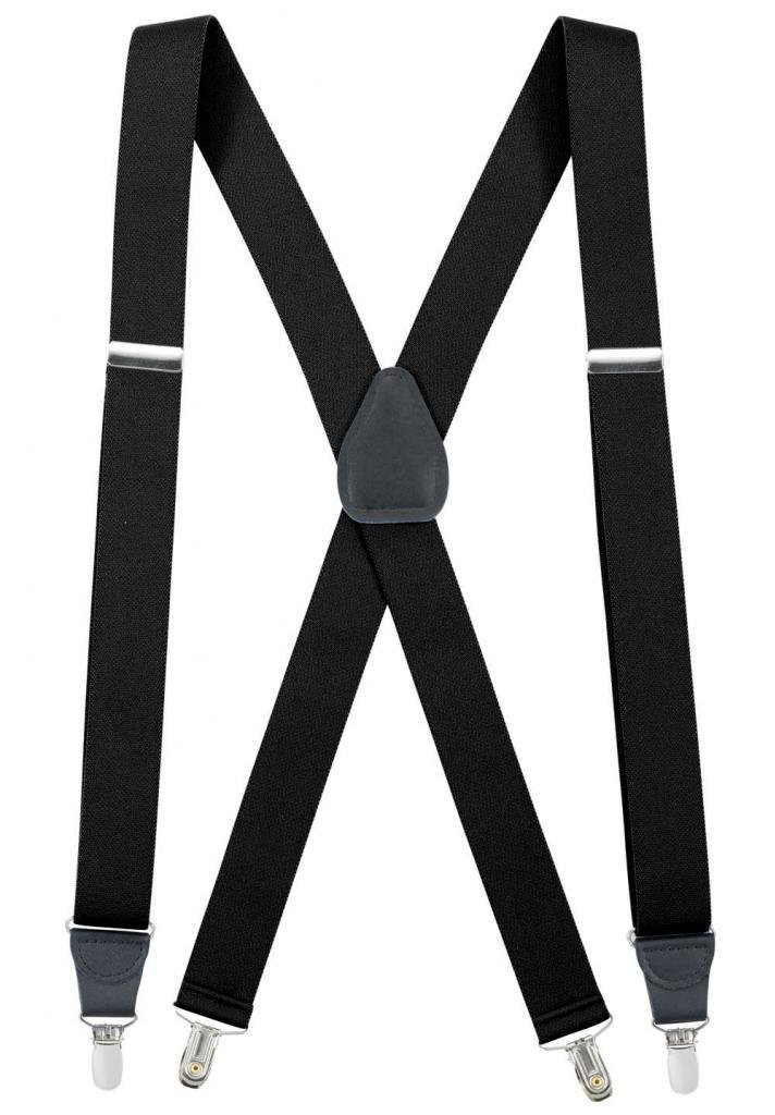 Hold'Em Suspender for Men Made in USA X-Back Genuine Leather Crosspatch Clip on tuxedo suspenders Many Colors Available- Sizes 46'' & 54'' (Regular - 46 Inches, Black)