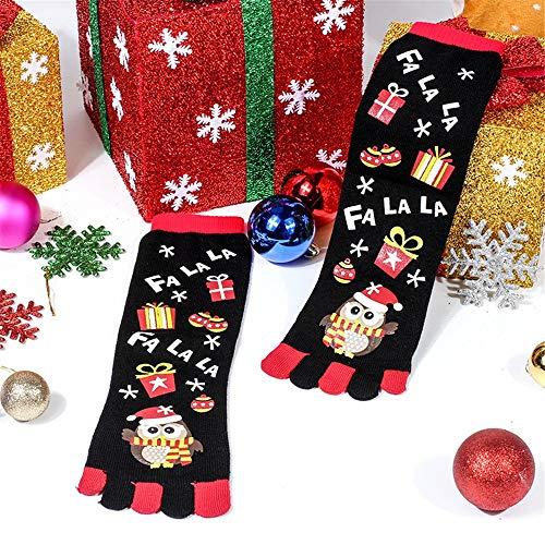 Socks for Women Tronet Christmas Unisec Print Multicolor Toe Socks Five Finger Socks Cotton Funny Socks