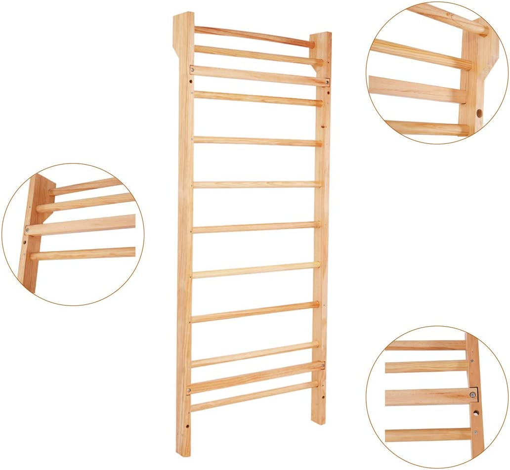 Goplus - Escalera de hombro sueco para deporte, pared en gimnasio, para casa, de madera de pino, 195 x 80 x 14 cm: Amazon.es: Deportes y aire libre