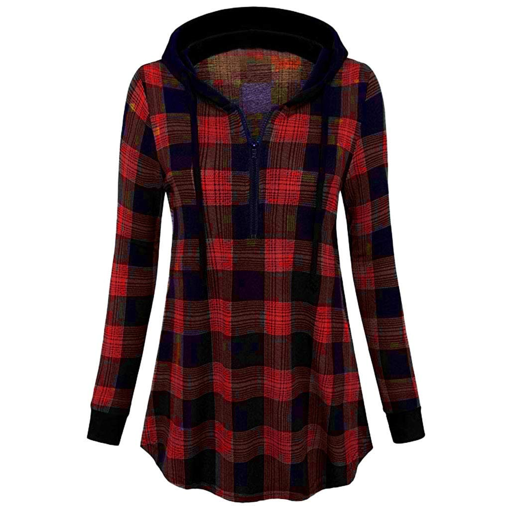 AOJIAN Blouse Women Long Sleeve T Shirt Zipper Plaid Hooded Sweatshirt Tees Sweater Shirts Tops