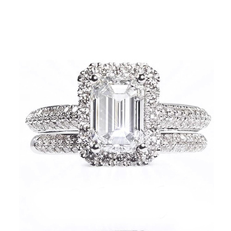 a693cc6b1eff Lilu joyas blanco circonita aniversario banda anillo de compromiso novia  establece 925 plata de ley Outlet