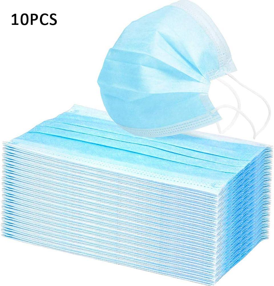 Máscara de protección médica de 3 capas, polipropileno, máscaras azules suministradas en bolsa sellada (10 unidades)