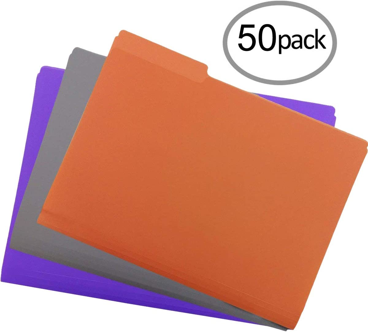 Plastic File Folders 50PCS Heavy Duty Plastic Folders 1/3 Cut Tab Letter Size Assorted Colors for Organizing and Easy File Storage Plastic File Folders Colored : Office Products