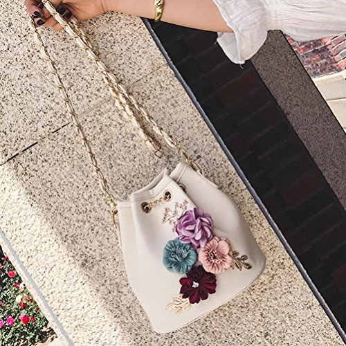 Bag VIASA Cross Shoulder Handbag Women Shoulder Messenger Applique Vintage White Bag Body Purse Leather New Purse Messenger Bags Fashion rZqzrO