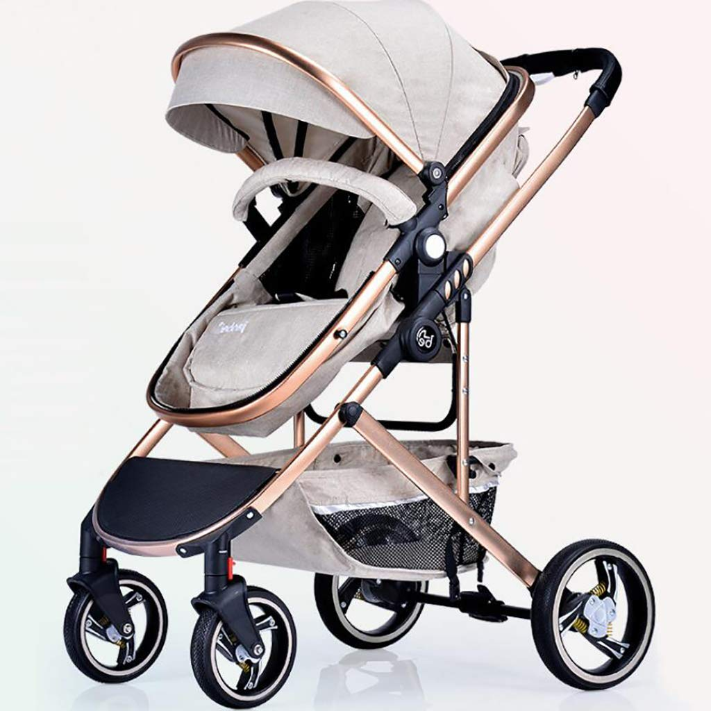 MRXUE High Landscape Baby Stroller Visible Sunroof Two-Way Adjustable/Reclining Trolley Damping One-Handed Car Suitable for 0-3 Years Old,Beige