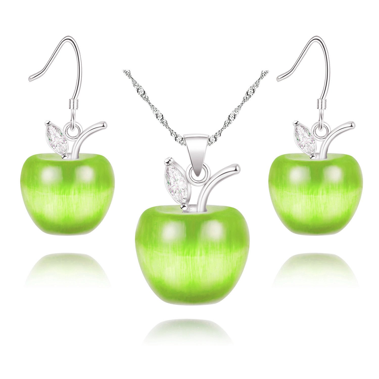 Uloveido Teacher's Day Gift Silver Plated Candy Green Apple Cubic Zirconia Pendant Green Necklace Earrings Jewelry Set for Women YL007-SET
