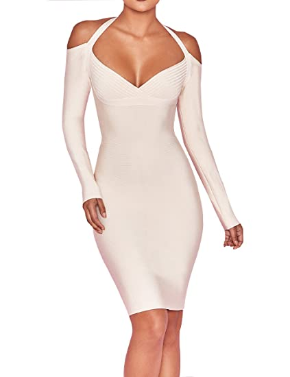 e87bd38d98d UONBOX Women s Sexy Rayon V Neck Cut Out Long Sleeves Off Shoulder Halter  Party Bodycon Bandage