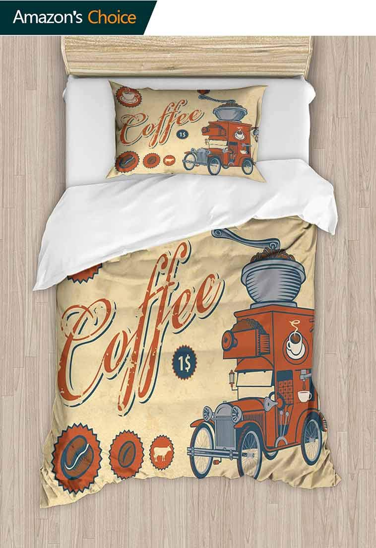 Retro Custom Made Quilt Cover and Pillowcase Set, Artsy Commercial Design of Vintage Truck with Coffee Grinder Old Fashioned, Bedding Set Cover with 1 Pillow Shams Decorative Quilt Cover Set