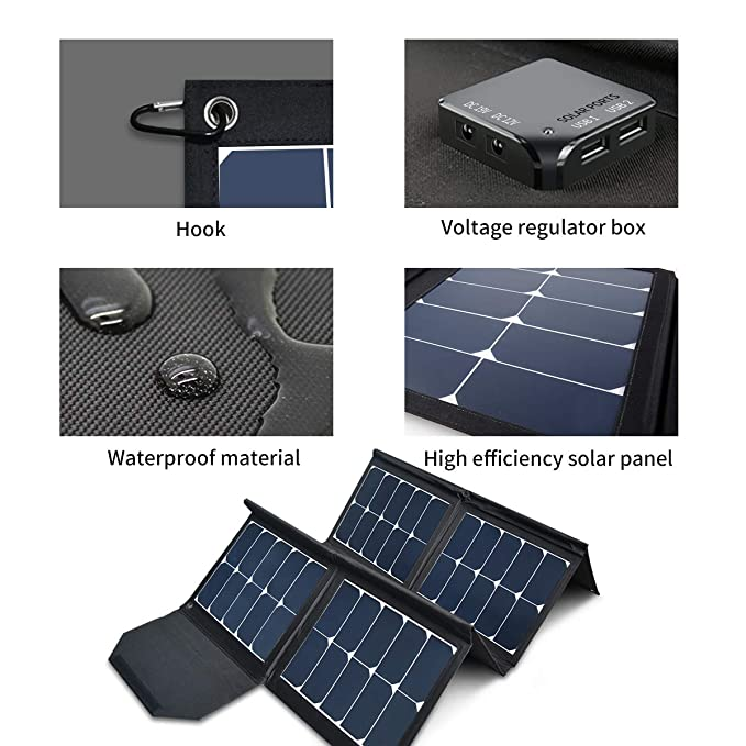 130W Portable Collapsible Solar Panel Charger SUNGZU Waterproof Nylon 600D Material Suitable for Mobile Phones, Laptops, Car Batteries, Generators best home solar panels