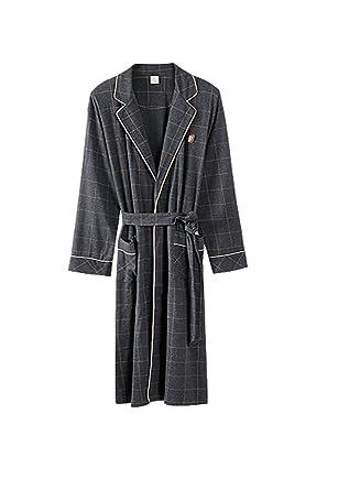 Pijamas de algodón de primavera y otoño Hombres camisón/Casual ropa suelta/Albornoz plaid