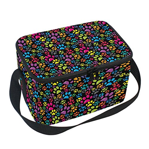 Naanle Animal Paw Print Canvas Zipper Insulated Lunch Bag Co
