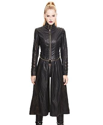 Fashion En Women Punk Gothic Long Veste Devil Dšštachable Et Cuir qMUzVpS