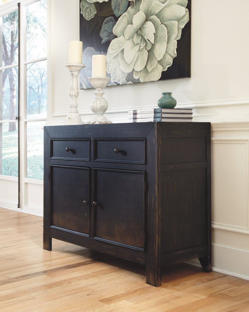 Ashley Furniture Signature Design - Gavelston Accent Cabinet - 2 Cabinets and 2 Drawers - Vintage Casual - Black by Signature Design by Ashley (Image #3)
