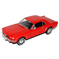Ford Mustang I Rot Coupe 1/2 1964-1966 1/24 Welly Modell Auto mit individiuellem Wunschkennzeichen