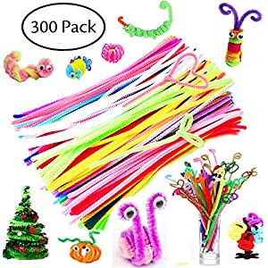 300 Pcs Pipe Cleaners - Craft Supplies Chenille Stem by BellaBetty (6 mm x 12 Inch, Assorted Colors)