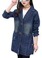 Girl's Dark Washed Blue Denim Maxi Jacket Turn Down Collar Dress-coat Jeans Trench Coat with Pockets
