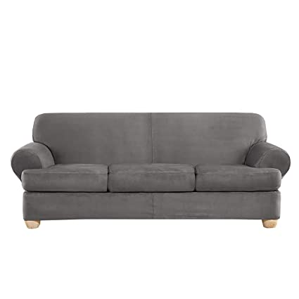 Amazon.com: Sure Fit Ultimate Heavyweight Stretch Suede Slipcover ...