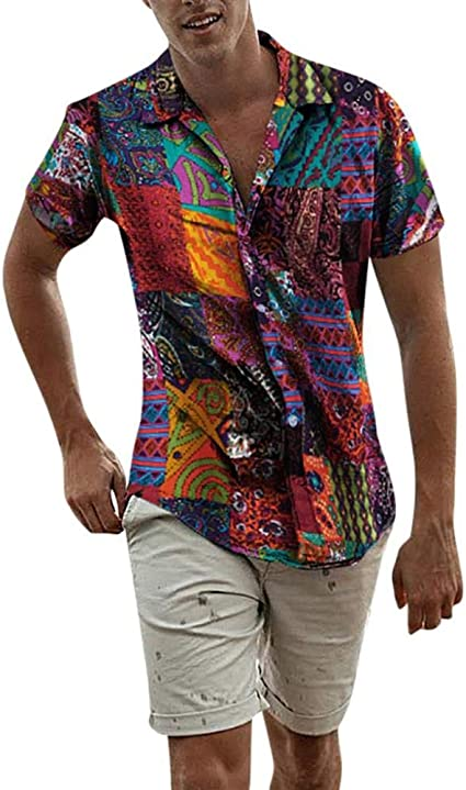 Camisas de Manga Corta con Botones Masculinos Blusa Mint ...