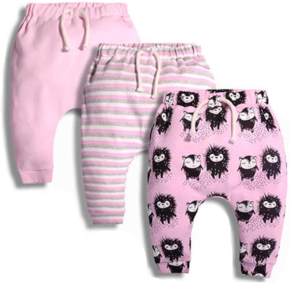 Toddler Kids Baby Girl Pants Newborn 3 Pack Cotton Pants Set