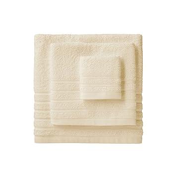 Barceló Hogar 05040010002 Juego de 3 toallas para bidé, lavabo y ducha, modelo Diamante, rizo americano, crema: Amazon.es: Hogar