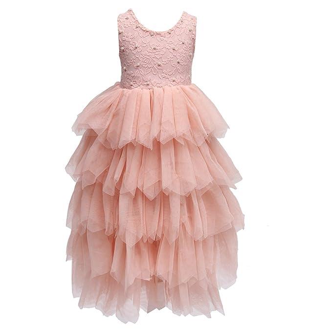 494bc12ac9e Girls Tutu Lace Dress Beading Ruffles Princess Pink Party Dresses (1T)