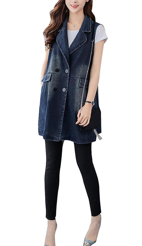 Jeansweste Damen Ärmellos Revers Denim Lang Weste Vintage Elegante Perfect Fashion Loose Lässig Jeansmantel Jacke Outwear Frühling Herbst Style