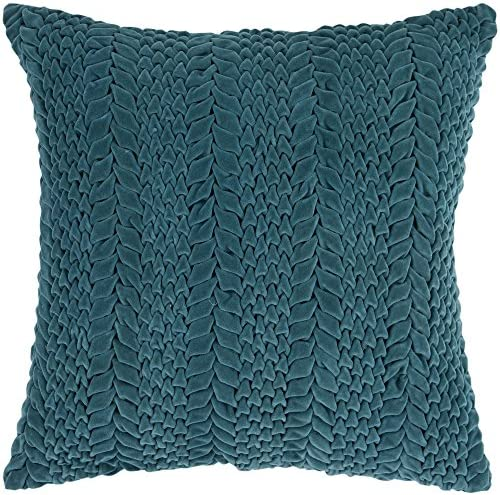 Surya P-0279 Hand Crafted 100 Cotton Teal Green 22 x 22 Solid Decorative Pillow