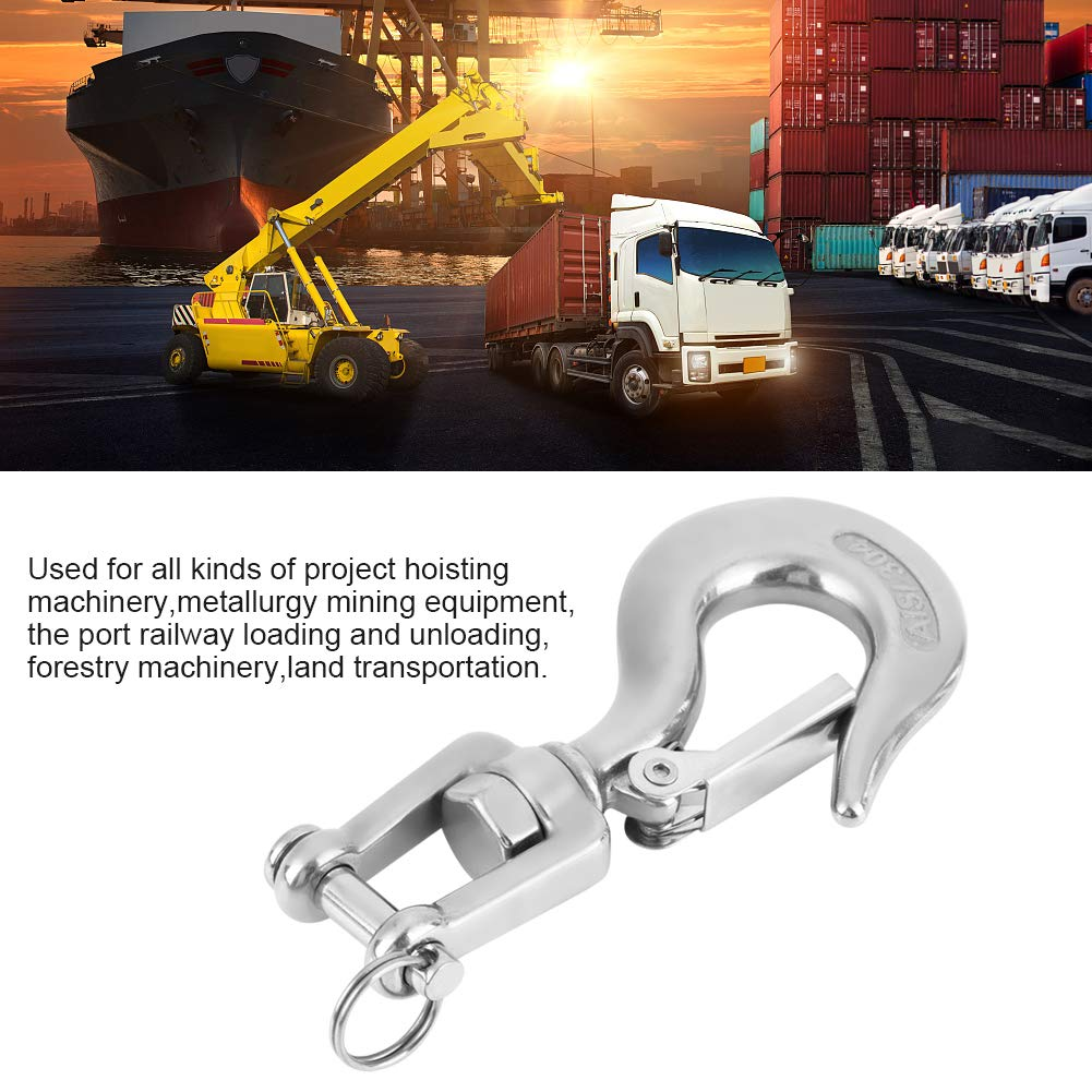 650kg Slip Hook with Latch Jaw Swivel Eye Lifting Crane Chain Hooks 650kg//1000kg 304 Stainless Steel Swivel Lifting Hook with Latch Rigging Accessory