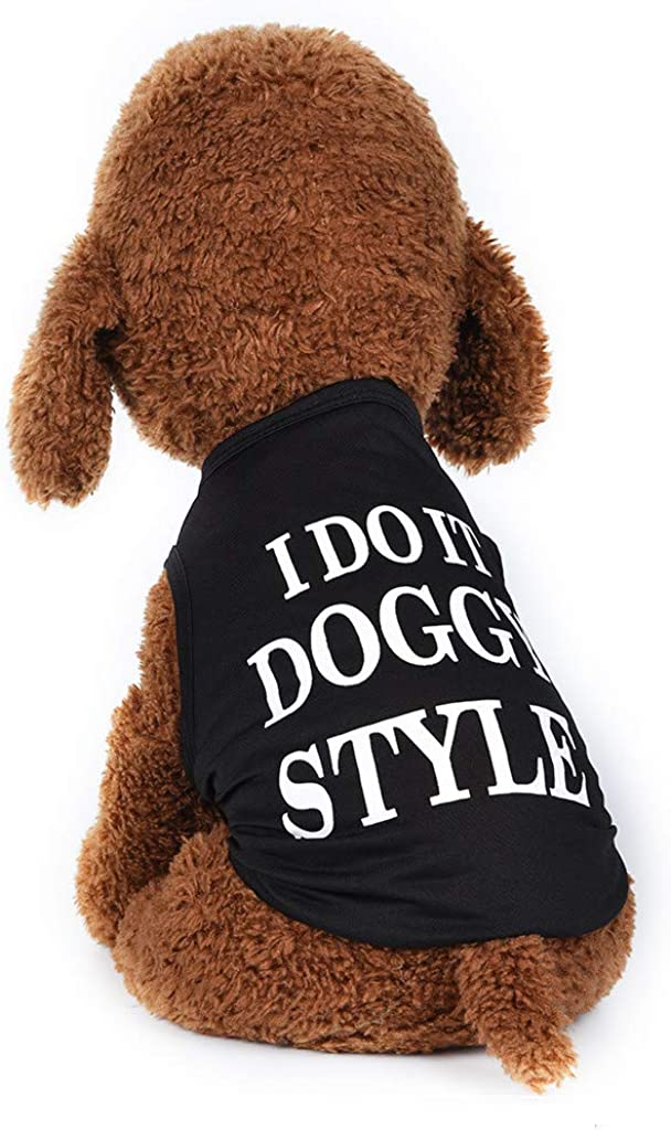 Howstar-Dog Clothes Pet Funny Letter Print Vest Top Dog Puppy Cute Slogan T-Shirt Pet Costume for Cats Dogs